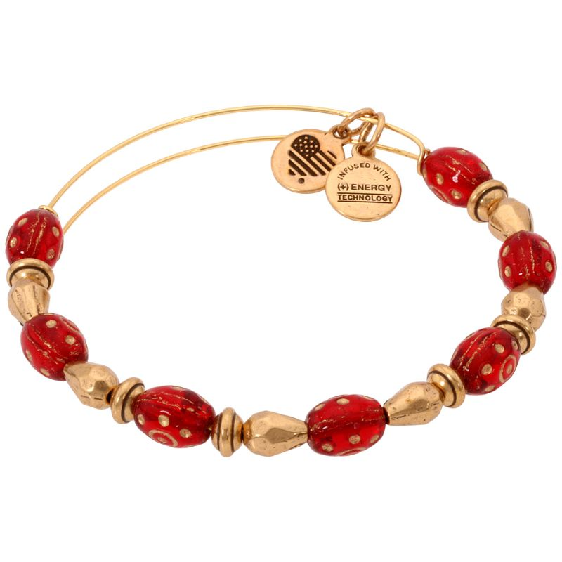 Alex And Ani Radiance Crimson Beaded Bangle Bracelet Rafaelian Gold A17EBRDCRG