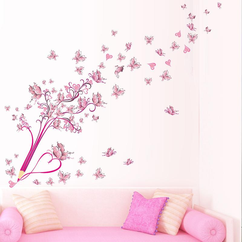 Pink Butterfly Flower Blossom Pencil Tree Removable Living Room Girls Bedroom Wall Sticker DIY Home Decor Decal Mural