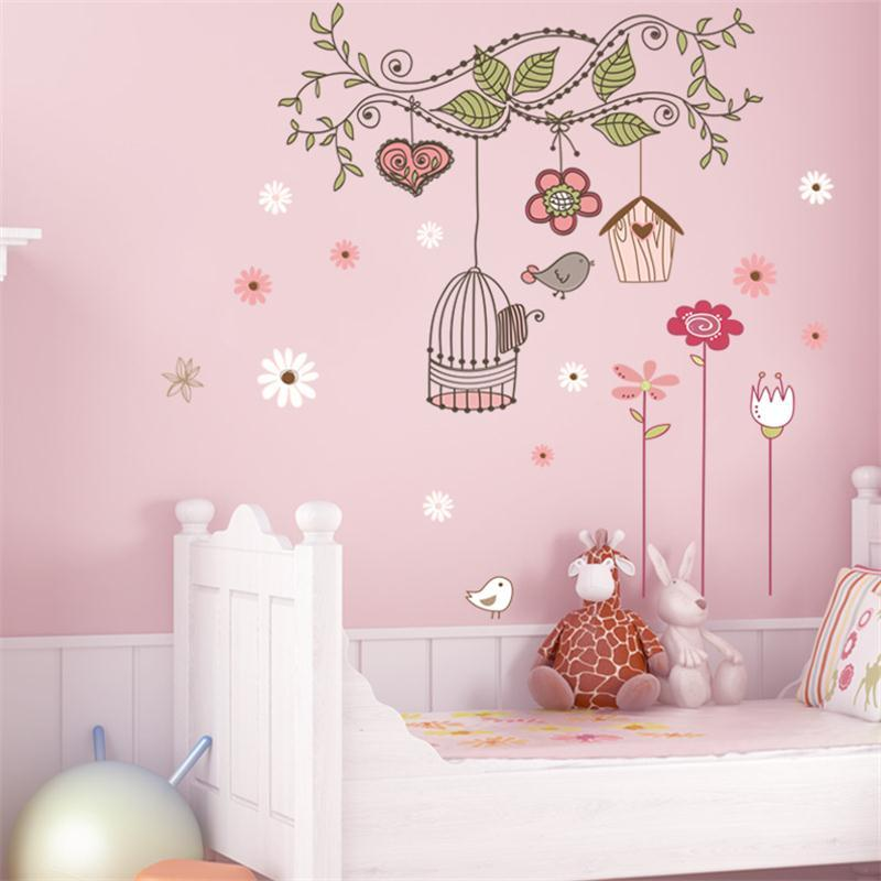 ZooYoo peel and stick  decals pvc wall stickers baby room decorations 7102 flower bird cage house 50x70