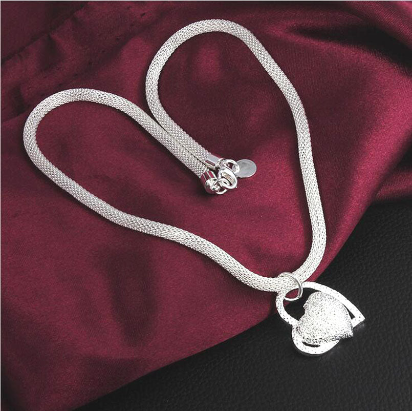 925 sterling silver jewelry exquisite fashion network heart heart pendant necklace girl women wedding wholesale jewelry