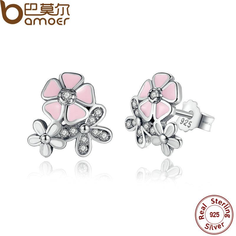 BAMOER 925 Sterling Silver Poetic Daisy Cherry Blossom Drop Earrings PAS461