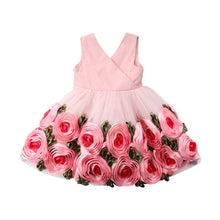 Load image into Gallery viewer, Toddler Baby Kids Girls clothes Flower print V-neck sleeveless Tulle Bow Casual cotton backless Summer Mini Dresses one pieces