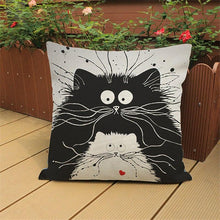 Load image into Gallery viewer, Cute Cartoon Pattern Anime Pillowcase Cat Pillow Case Married Couples Kitten Cushions Cover Outdoor Chair Cushions