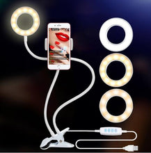 Load image into Gallery viewer, Photo Studio Lamp Selfie LED Ring Light with Cell Phone Mobile Holder for Youtube Live Stream Makeup Camera Lamp for iPhone Android