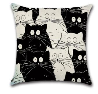 Cute Cartoon Pattern Anime Pillowcase Cat Pillow Case Married Couples Kitten Cushions Cover Outdoor Chair Cushions