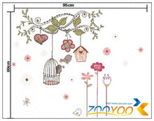 Load image into Gallery viewer, ZooYoo peel and stick  decals pvc wall stickers baby room decorations 7102 flower bird cage house 50x70