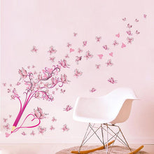 Load image into Gallery viewer, Pink Butterfly Flower Blossom Pencil Tree Removable Living Room Girls Bedroom Wall Sticker DIY Home Decor Decal Mural