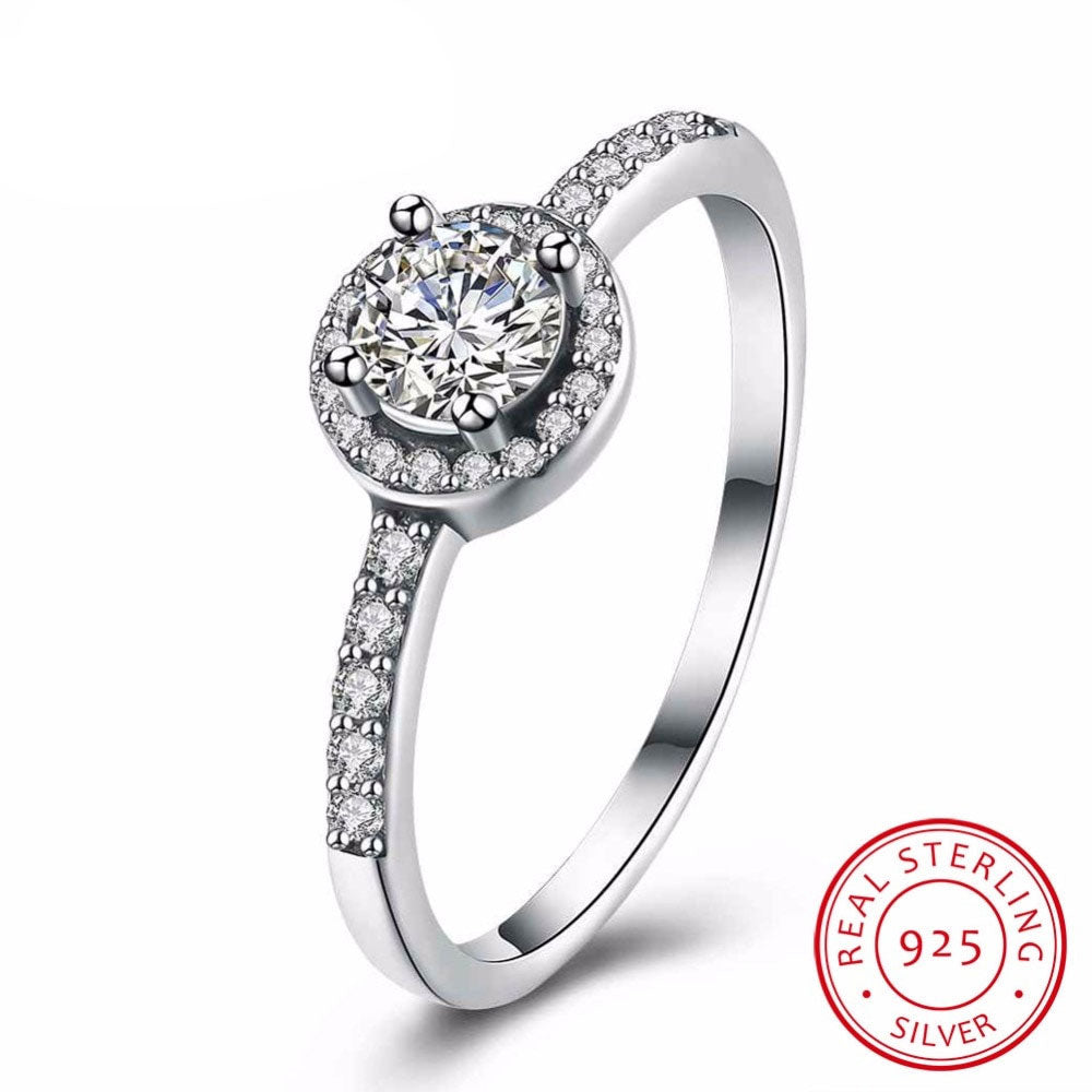 Solid 925 Sterling Silver Female Wedding Ring Classic Cubic Zirconia Fashion Jewelry Rings