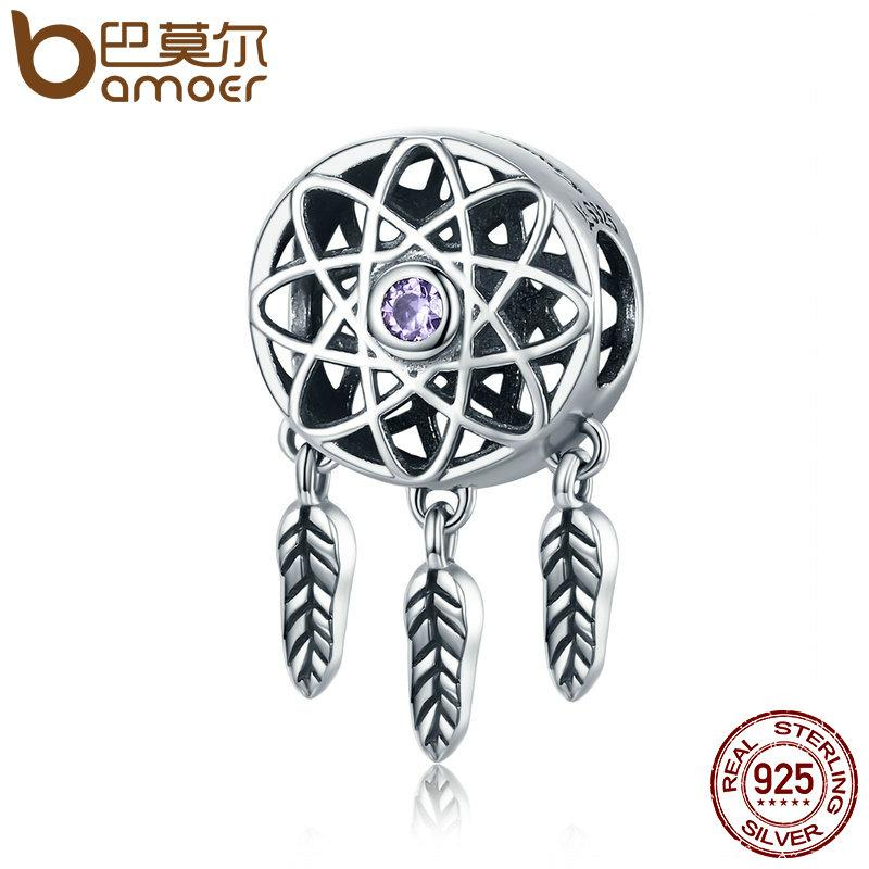 BAMOER 925 Sterling Silver Beautiful Dream Catcher Holder Beads fit Charm Bracelet SCC330