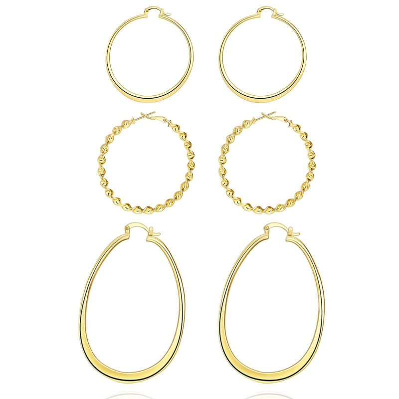 18k Gold Filled Classic Hoop Earrings - 3 Pack - Designed In Italy