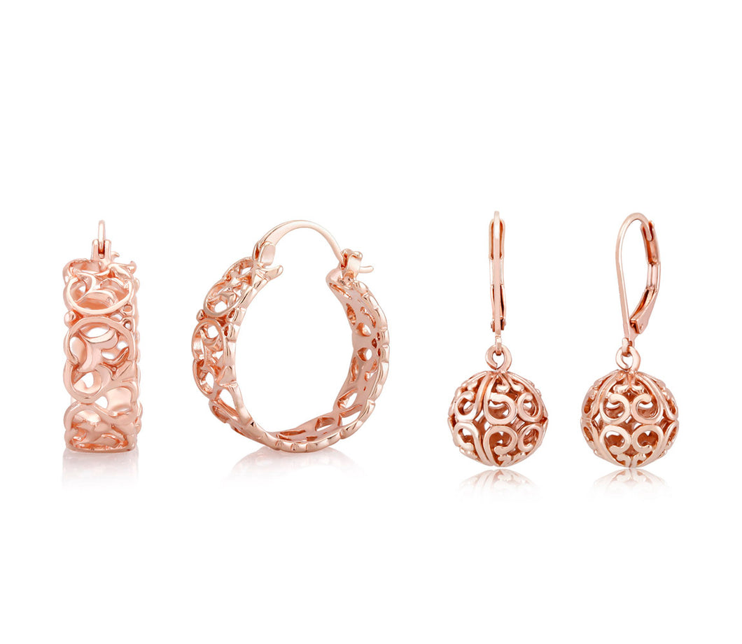 [2-Pack] Rose Gold Filigree Earrings