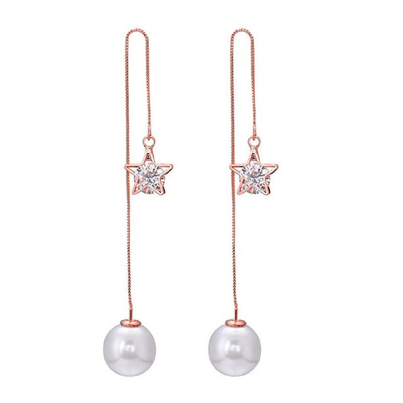 18kt Rose Gold Plated Pearl Cubic Zirconia Drop Earrings