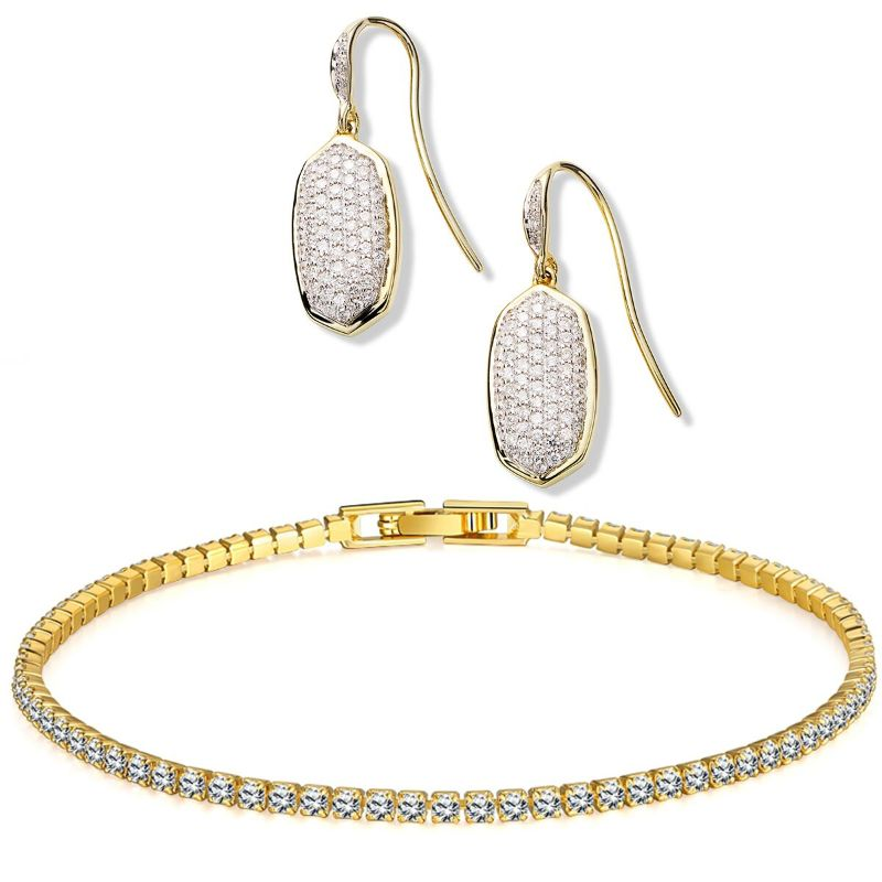 Pave Crystal Drop Earrings And Tennis Bracelet In 18k Gold Filled