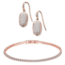 Load image into Gallery viewer, Pave Crystal Drop Earrings And Tennis Bracelet In 18k Gold Filled