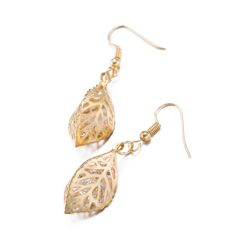 Filigree Leaf Drop Earrings Plated in 18K Gold