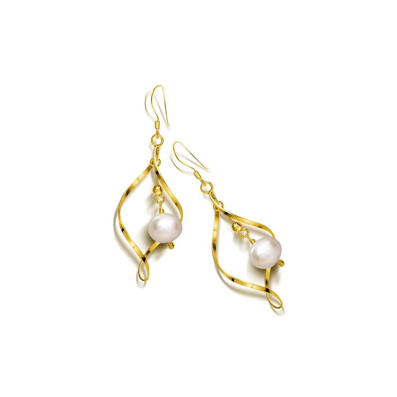 Freshwater Pearl Dangle Earrings in 18K Gold Plate Over Sterling Silver
