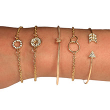 Load image into Gallery viewer, Pav'e Loveknot and Arrow Bracelets in Plated Yellow Gold Set - 5 Pieces