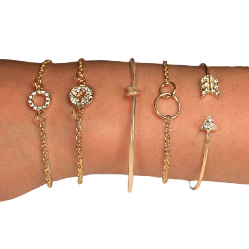 Pav'e Loveknot and Arrow Bracelets in Plated Yellow Gold Set - 5 Pieces