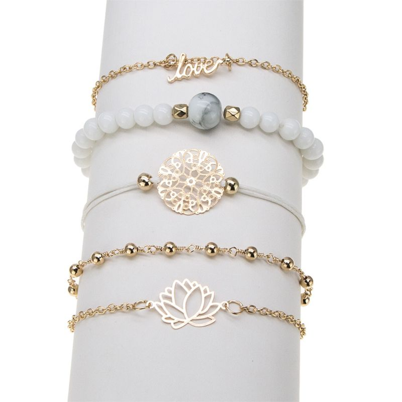 Arcoris White Marble Filligree Lotus and Love Bracelet Set - 5 Pieces