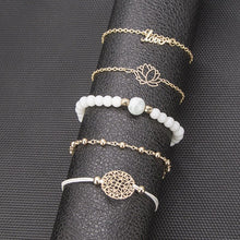 Load image into Gallery viewer, Arcoris White Marble Filligree Lotus and Love Bracelet Set - 5 Pieces