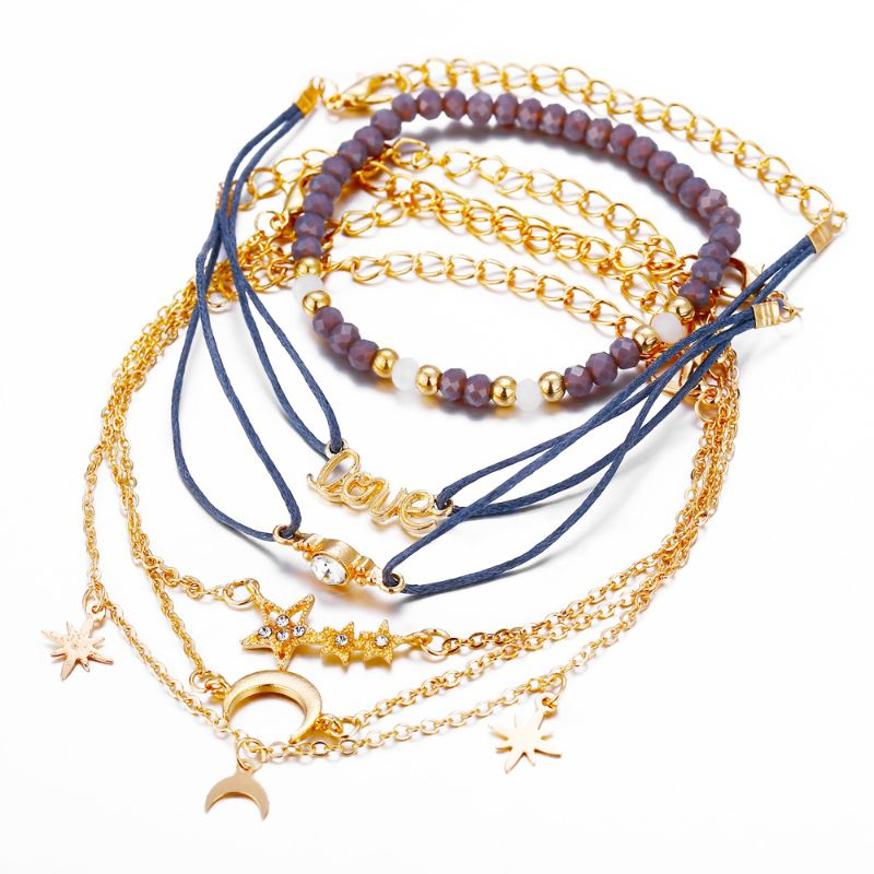 Blue and Yellow Gold Love Stars and Moon Bracelet Set - 6 Pieces