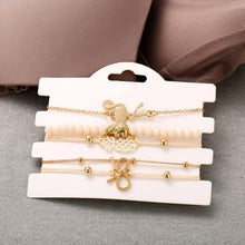 Load image into Gallery viewer, Flamingo Elephant Pineapple Bow Bracelet Set in 14k Yellow Gold - 5 Pieces