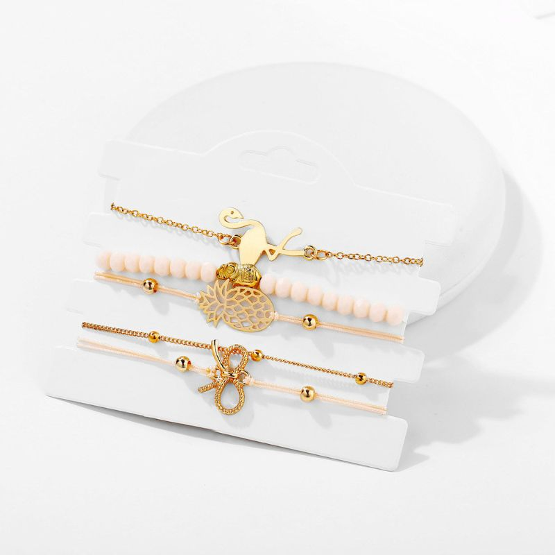 Flamingo Elephant Pineapple Bow Bracelet Set in 14k Yellow Gold - 5 Pieces