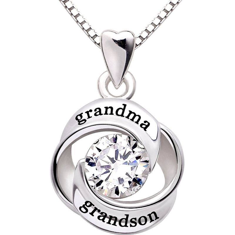 Grandma Grandson - Pave Heart Necklace Made with Swarovski Crystals