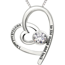 Load image into Gallery viewer, I Love You Grandma to the moon and back - Pave Heart Necklace Made with Swarovski Crystals