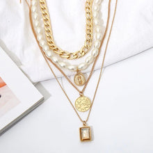Load image into Gallery viewer, 4 pc Necklace Set- Choker Pearl Coin Pendant in 18K Gold Filled w Swarovski