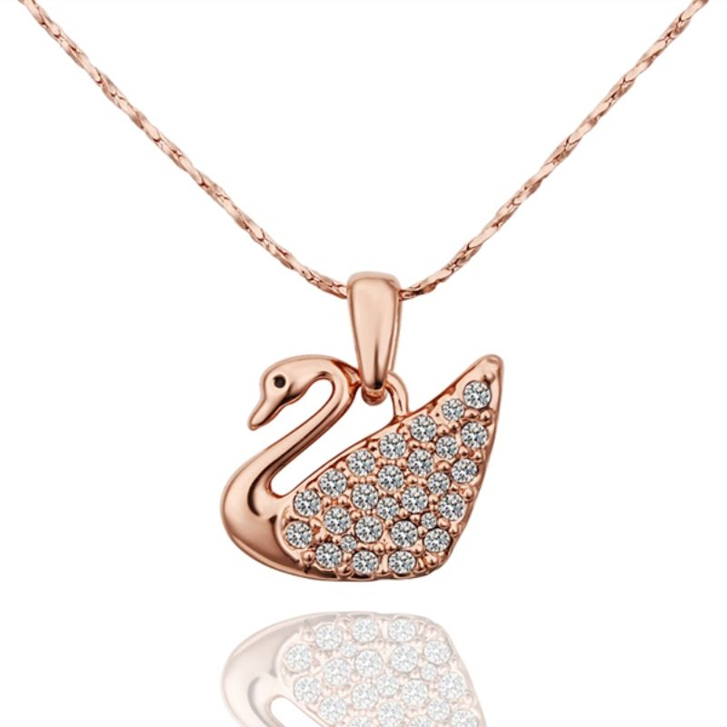 Pave Swan Necklace Plated in 18K Gold