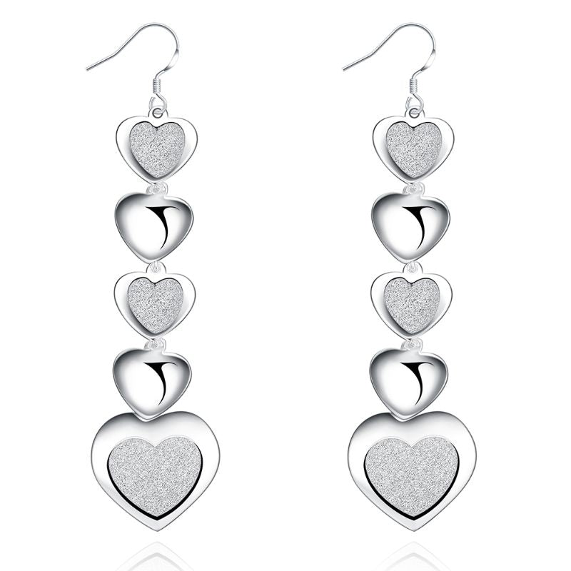 5 Heart Drop Earring Plated in 18K White Gold