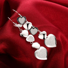 Load image into Gallery viewer, 5 Heart Drop Earring Plated in 18K White Gold