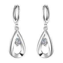 Load image into Gallery viewer, Swarovski Crystal Teardrop Stud Earrings Plated in 18K White Gold