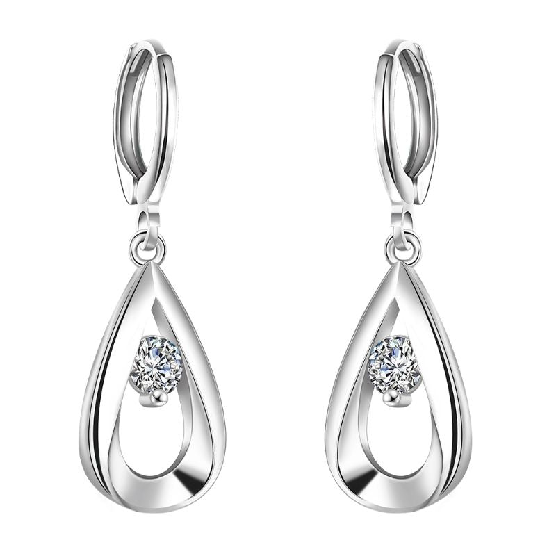Swarovski Crystal Teardrop Stud Earrings Plated in 18K White Gold