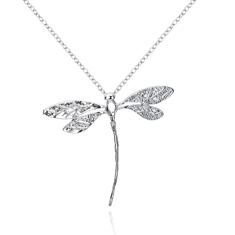 Large Dragonfly Necklaces Plated in 18K White Gold