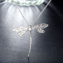 Load image into Gallery viewer, Large Dragonfly Necklaces Plated in 18K White Gold