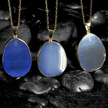 Load image into Gallery viewer, Blue Agate Natural Stone Necklace Plated in 18K Gold