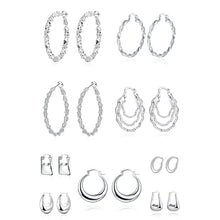 Load image into Gallery viewer, French Lock Geometric Hoop Earrings Plated in 18K White Gold
