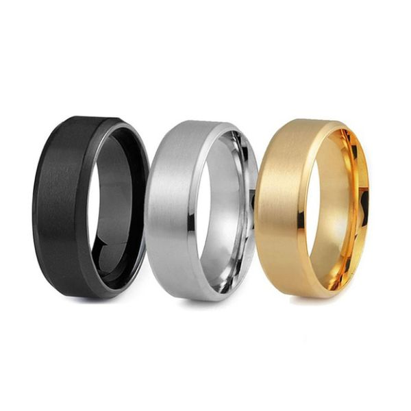 Men's Stainless Steel Comfort Fit Wedding Band Ring Set (3-Piece)