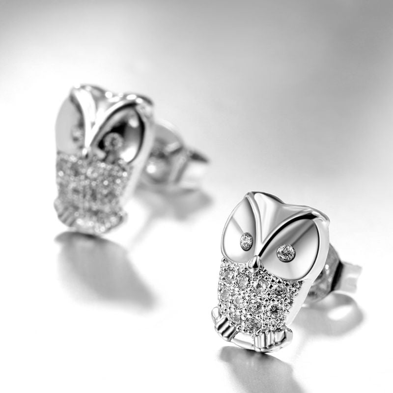 Pave Owl Stud Earring in 18K White Gold Filled with Swarovski Crystals