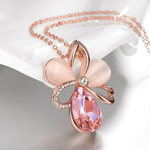 Load image into Gallery viewer, Pink Topaz Waterdrop Necklace in 18K Rose Gold Filled Made w/ Swarovski