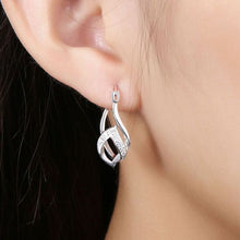 Load image into Gallery viewer, Double French Lock Pave Hoop Earring in 18K White Gold with Swarovski