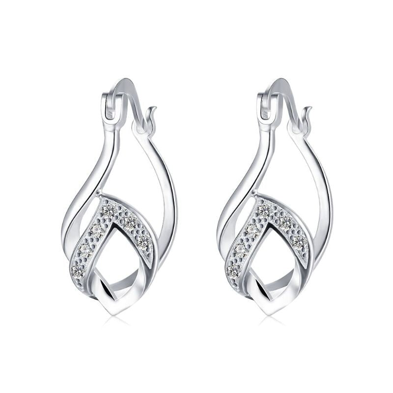 Double French Lock Pave Hoop Earring in 18K White Gold with Swarovski