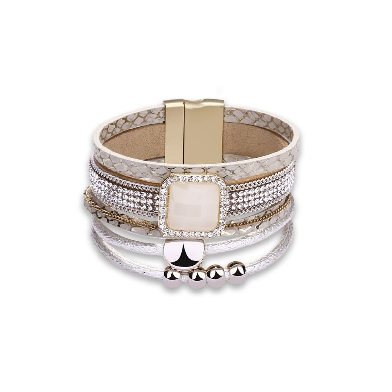Beige Leather Bracelet in 18K White Gold Filled with Swarovski Crystals