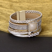 Load image into Gallery viewer, Beige Leather Bracelet in 18K White Gold Filled with Swarovski Crystals