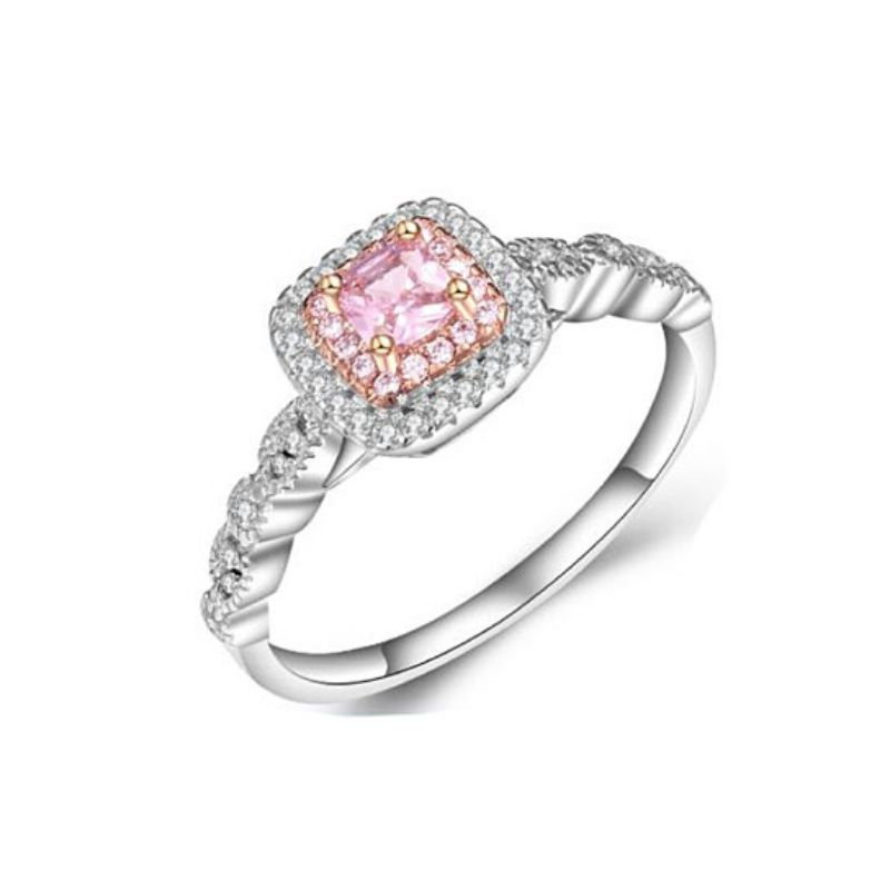 3.00 CTTW Pink Sapphire Princess Cut Halo Ring 18K Rose And White Gold Plating