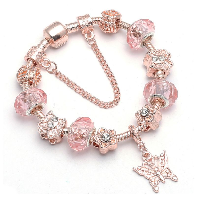 Swarovski Crystal Murano Butterfly Bracelet in 14K Rose Gold