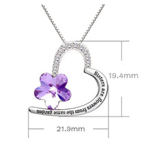 Load image into Gallery viewer, Amethyst Flower - Heart Shaped with Quote Necklace Made with Swarovski Crystals
