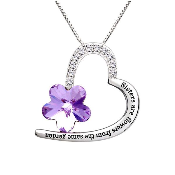 Amethyst Flower - Heart Shaped with Quote Necklace Made with Swarovski Crystals